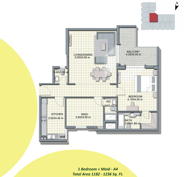 1-Bedroom+Maid-A4, Size-1182-to-1286-Sq Ft
