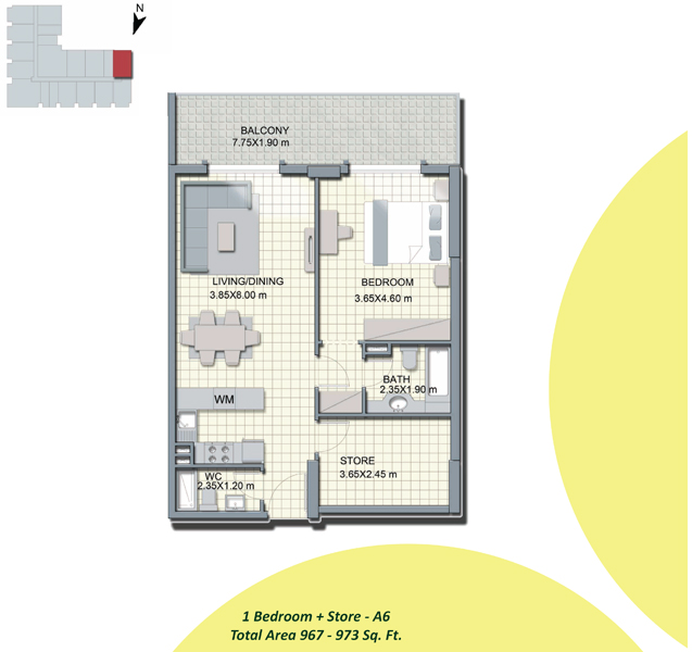 1-Bedroom+Store-A6, Size-967-to-973-Sq Ft