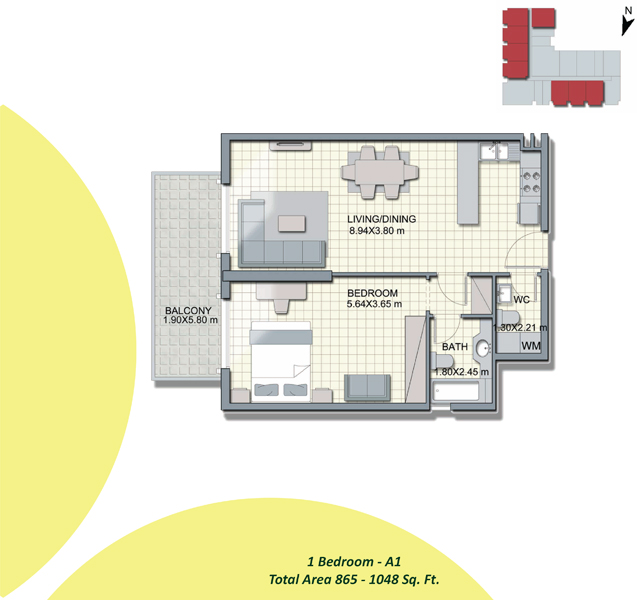 1-Bedroom-A1, Size-865-to-1048-Sq Ft