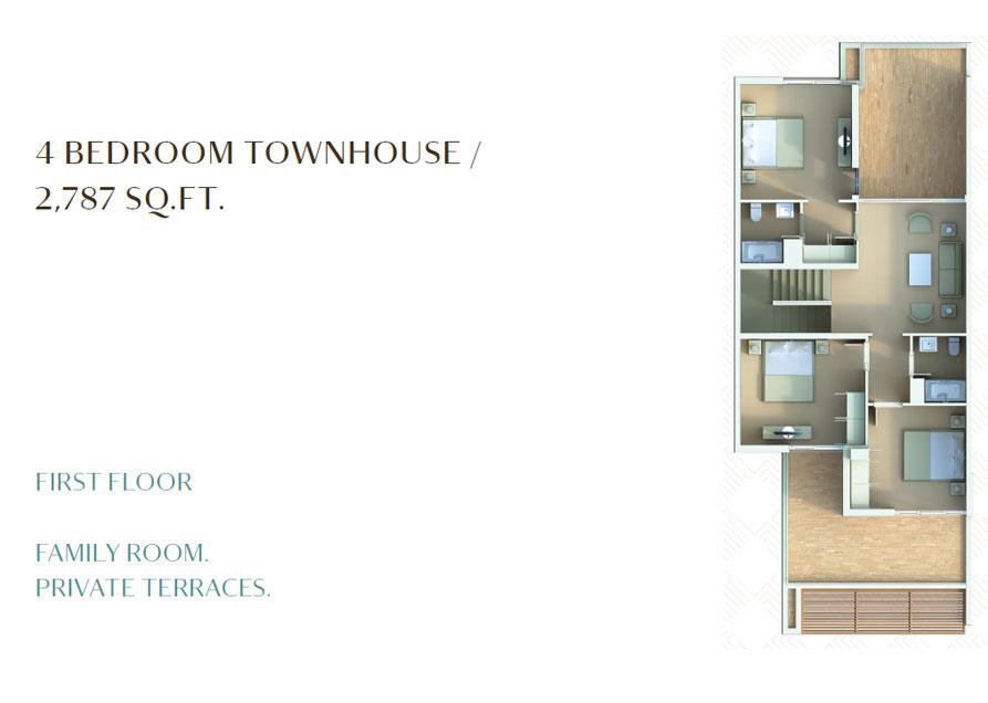 4 Bedroom Townhouse - 2787 Sq. Ft. - 1st Floor