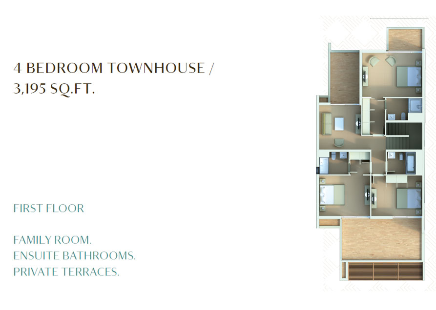 4 Bedroom Townhouse - 3195 Sq. Ft. - 1st Floor