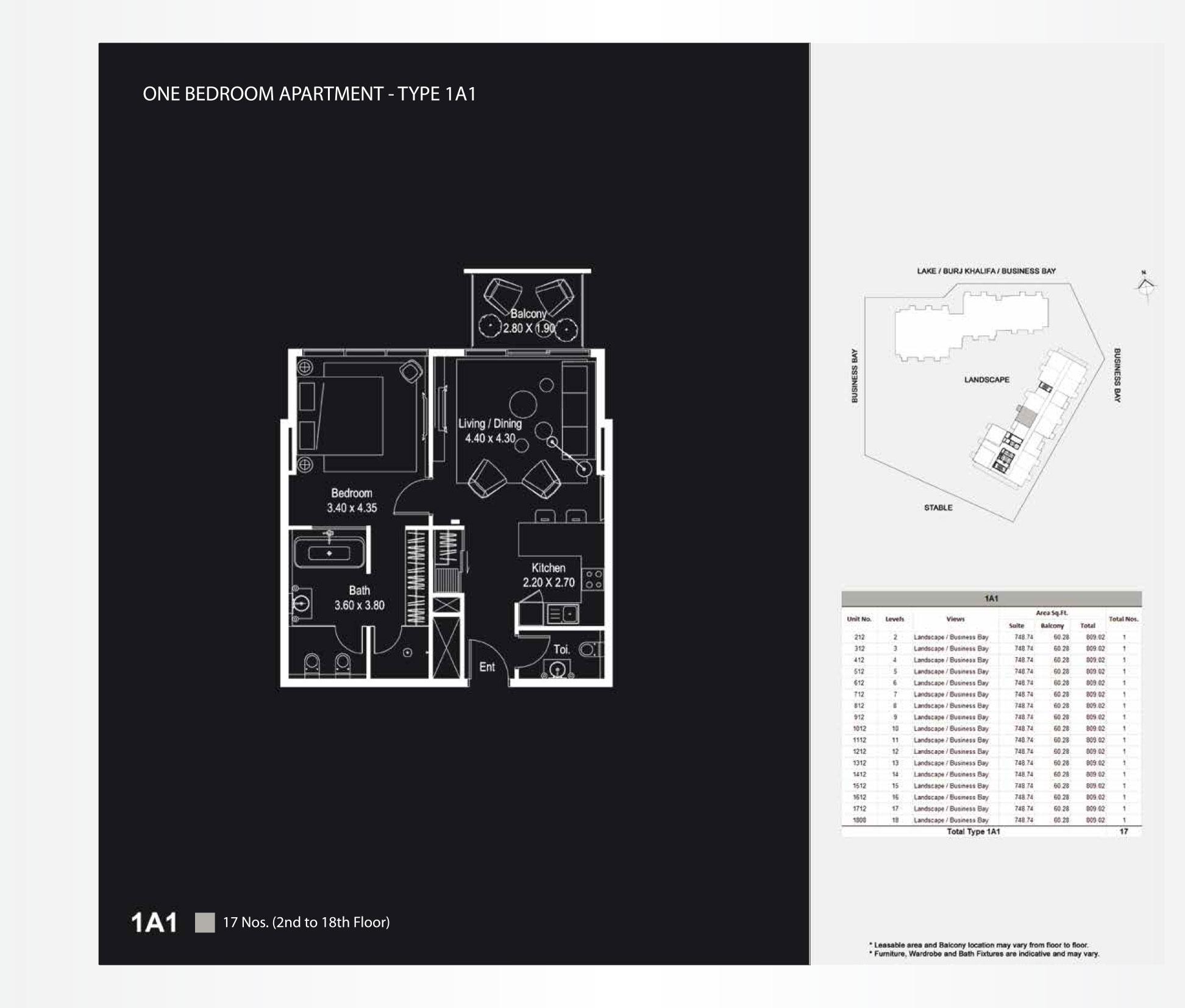 1 Bedroom Apartments Type 1A1 - 809.02