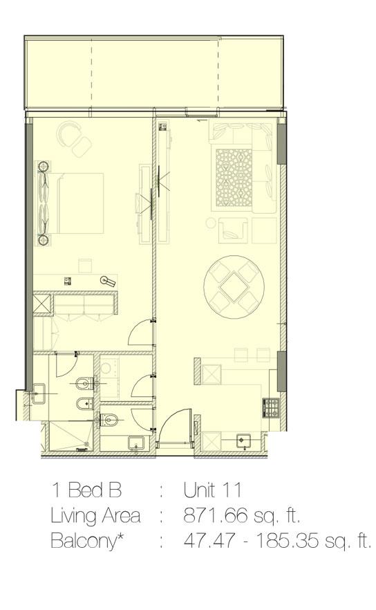 1 Bedroom B, Unit 11 - 871.66 Sq.Ft.