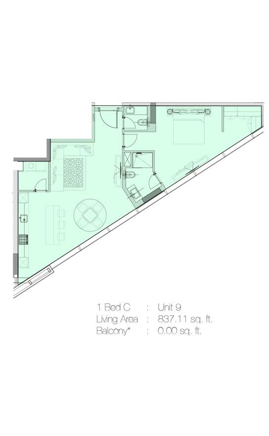 1 Bedroom C, Unit 9 - 837.11 Sq.Ft.