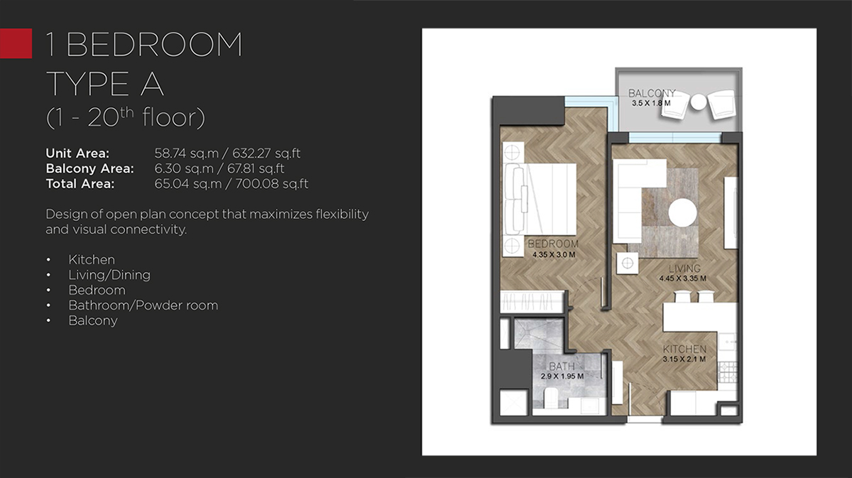 1 BEDROOM TYPE A - 1 - 20th floor-700.08 Sq. Ft.