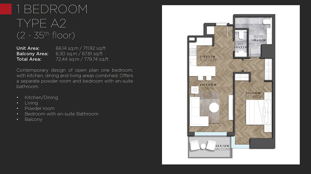 1 BEDROOM TYPE A2 - 2 - 35th floor-779.74 Sq. Ft.