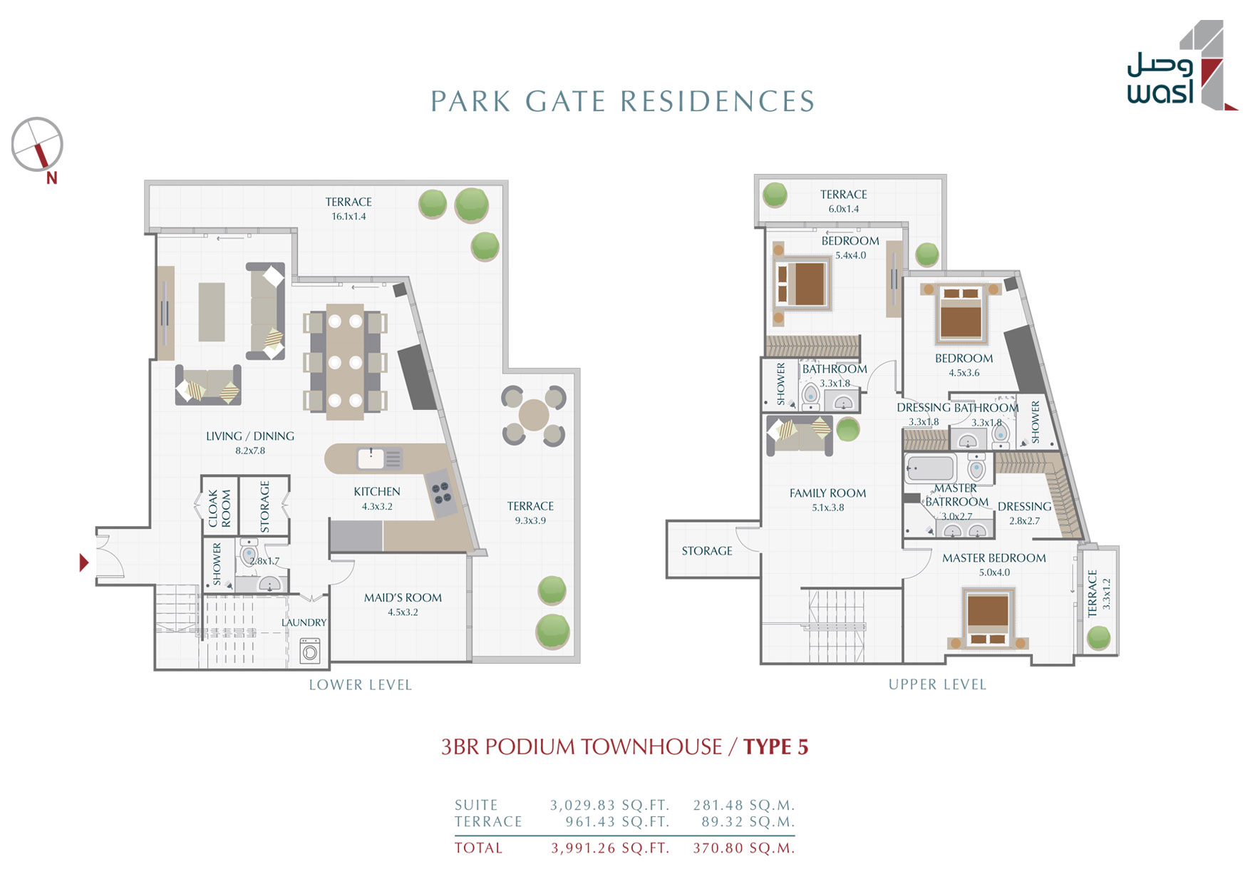 3BR-PodiumTownhouses, Type-5, Size-3991 sq.ft