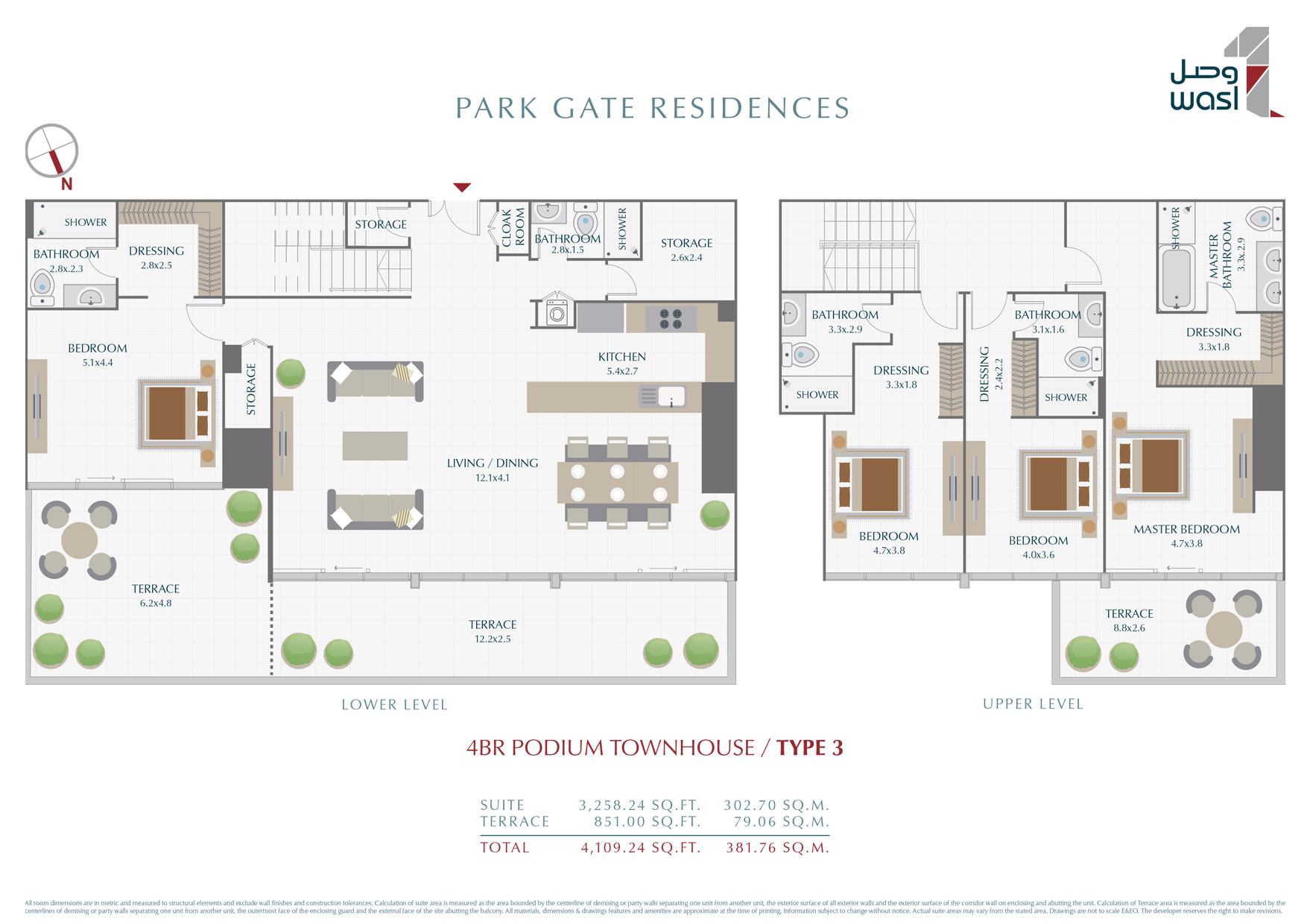 4BR-PodiumTownhouse, Type-3, Size-4109-sq.ft