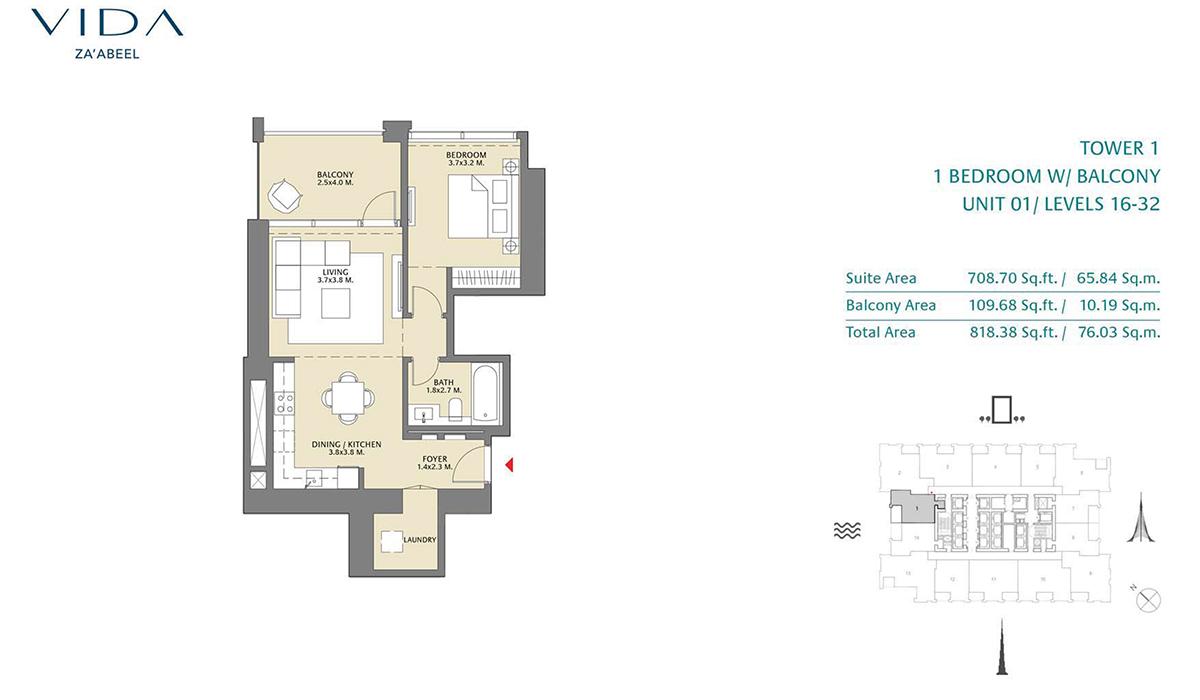 1 Bedroom Balcony Unit 01 Level 16-32 Size 818.38 Sq.ft