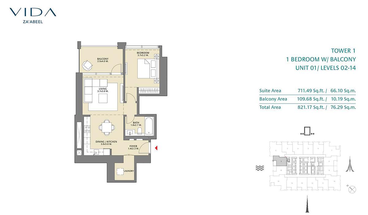 1 Bedroom Balcony Unit 01 Level 2-14 Size 821.17 sq.ft