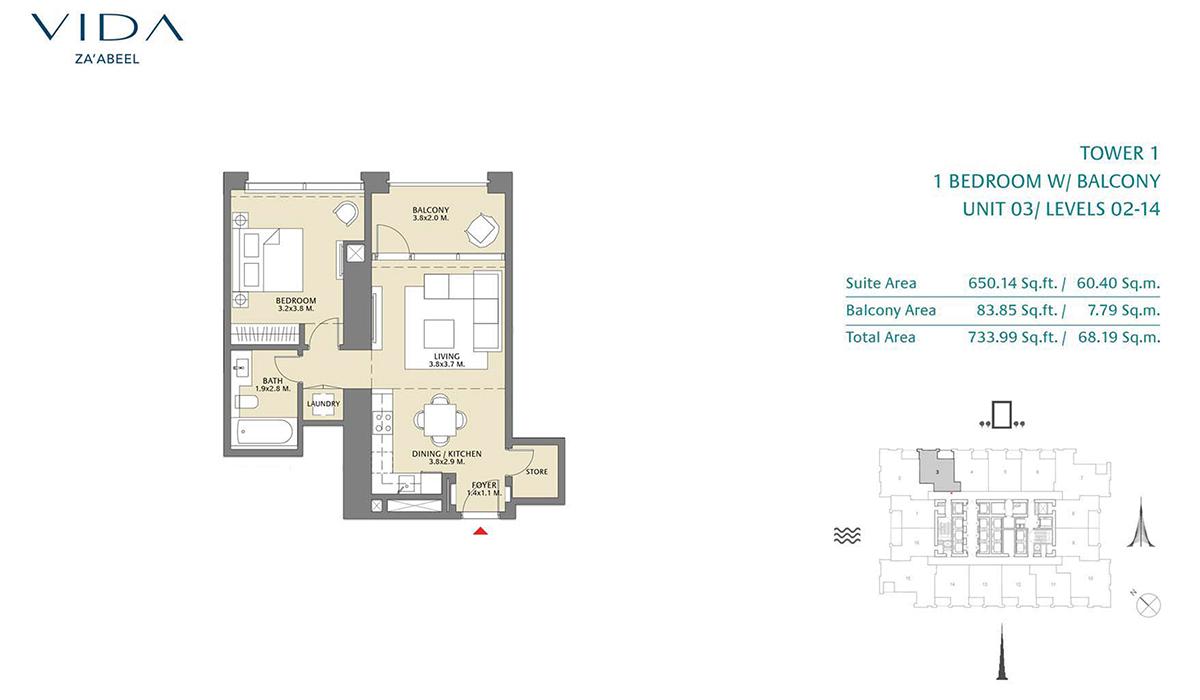 1 Bedroom Balcony Unit 03 Level 2-14 Size 733.99 Sq.ft