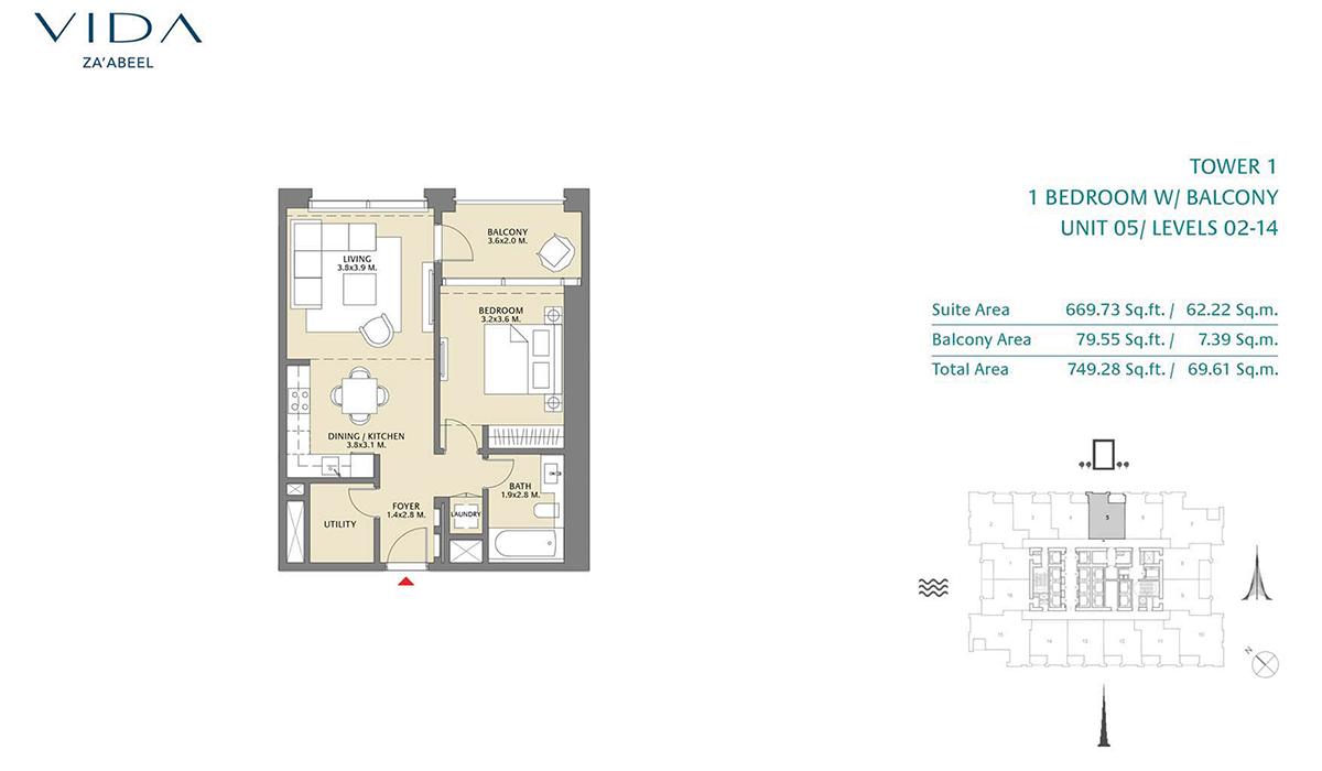 1 Bedroom Balcony Unit 05 Level 2-14 Size 749.28 sq.ft