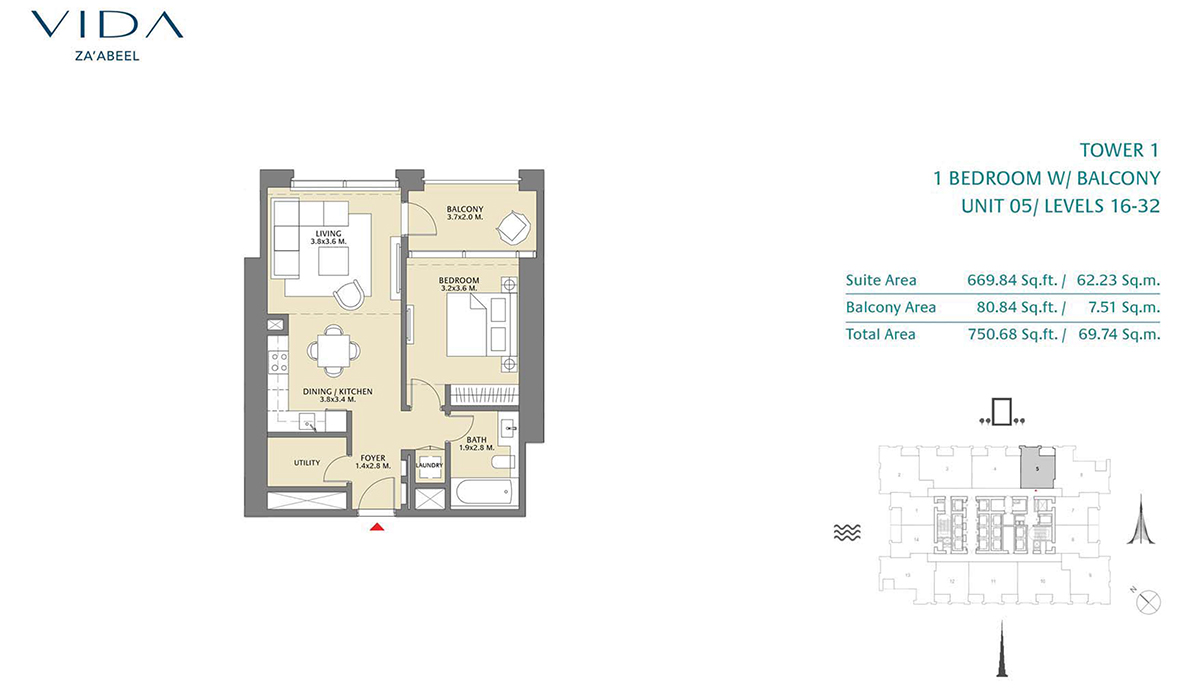 1 Bedroom Balcony Unit 05 Level 16-32 Size 750.68 sq.ft