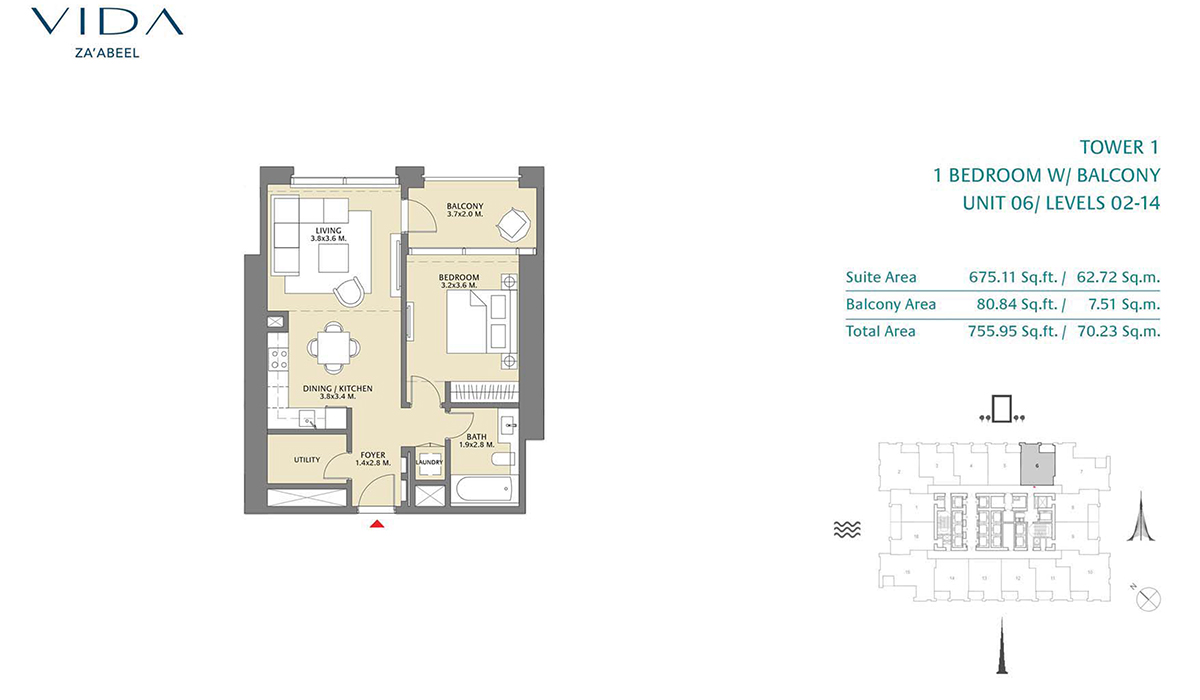 1 Bedroom Balcony Unit 06 Level 2-14 Size 755.95 sq.ft