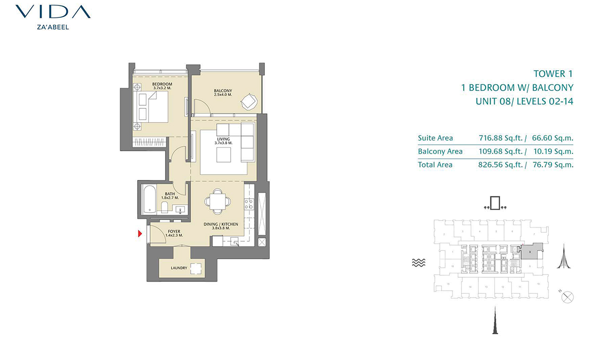 1 Bedroom Balcony Unit 08 Level 2-14 Size 826.56 sq.ft