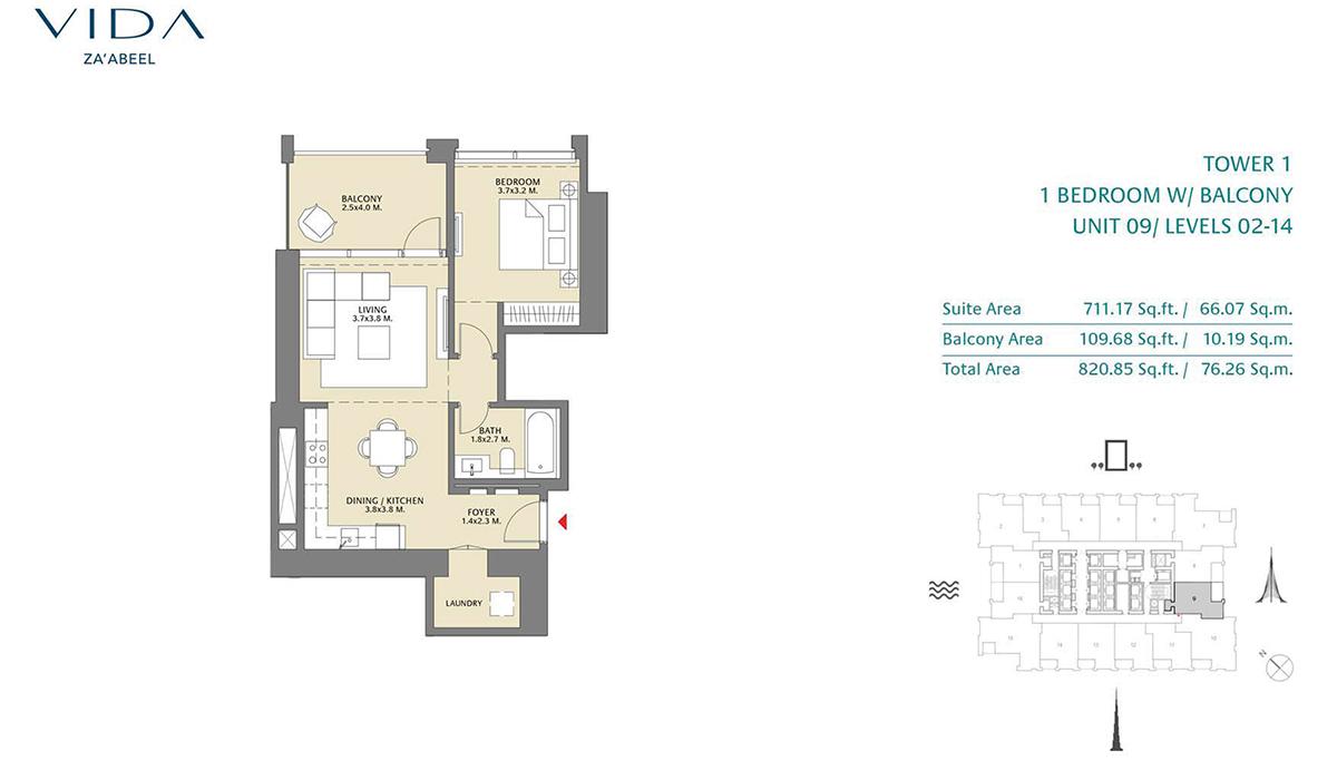 1 Bedroom Balcony Unit 09 Level 2-14 Size 820.85 Sq.ft