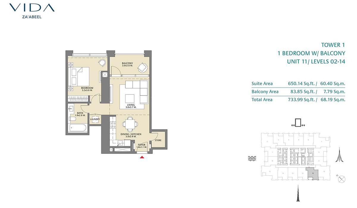 1 Bedroom Balcony Unit 11 Level 2-14 Size 733.99 sq.ft