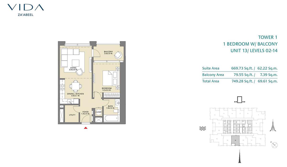 1 Bedroom Balcony Unit 13 Level 2-14 Size 749.28 sq.ft