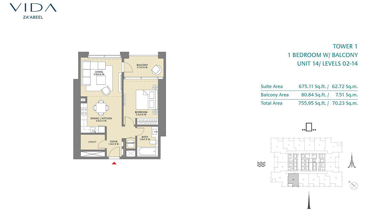 1 Bedroom Balcony Unit 14 Level 2-14 Size 755.95 sq.ft