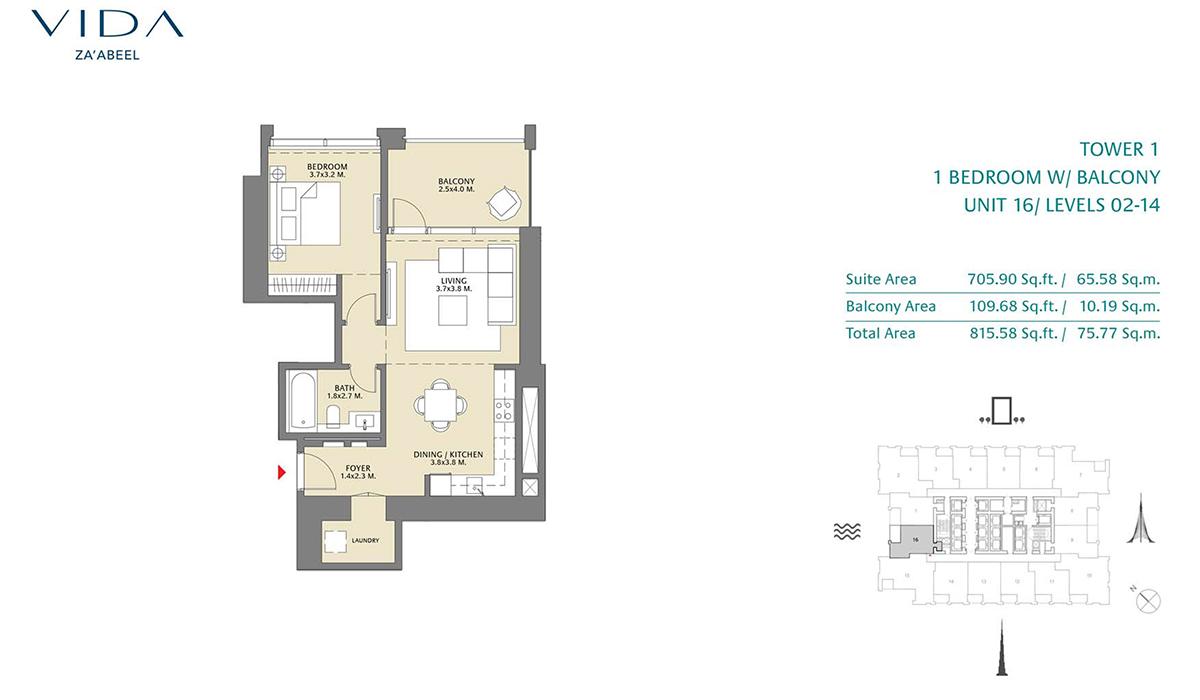1 Bedroom Balcony Unit 15 Level 2-14 Size 815.58 sq.ft