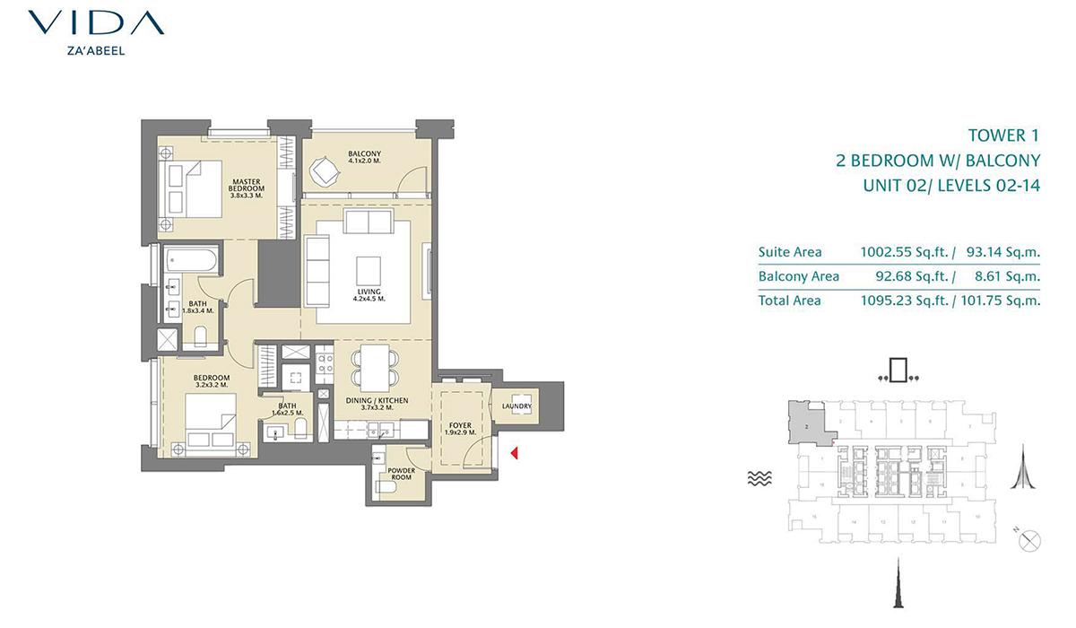 2 Bedroom Balcony Unit 02 Level 2-14 Size 1095.23 sq.ft