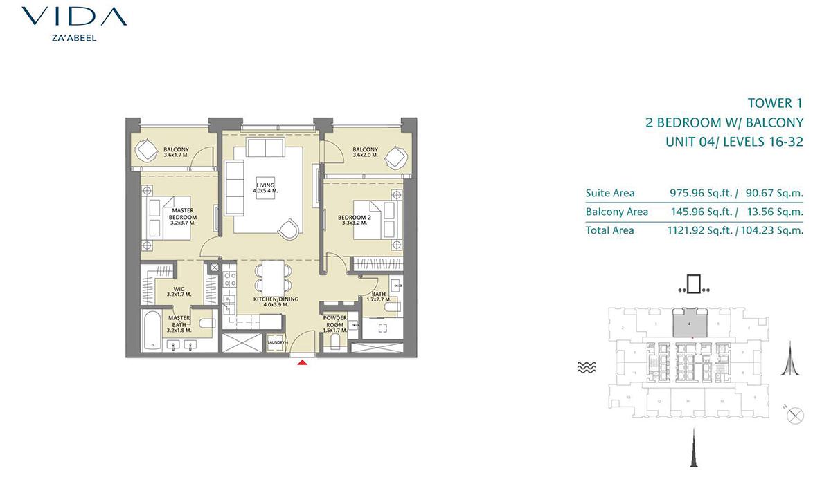 2 Bedroom Balcony Unit 04 Level 16-32 Size 1121.92 sq.ft