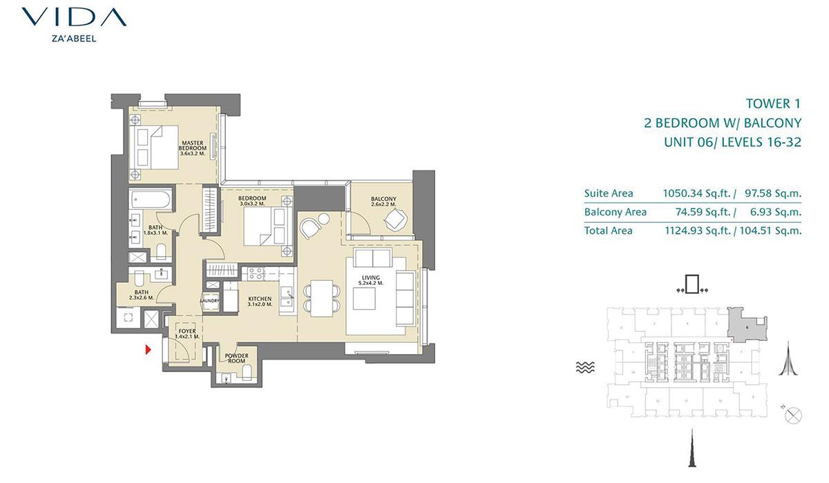 2 Bedroom Balcony Unit 06 Level 16-32 Size 1124.93 sq.ft