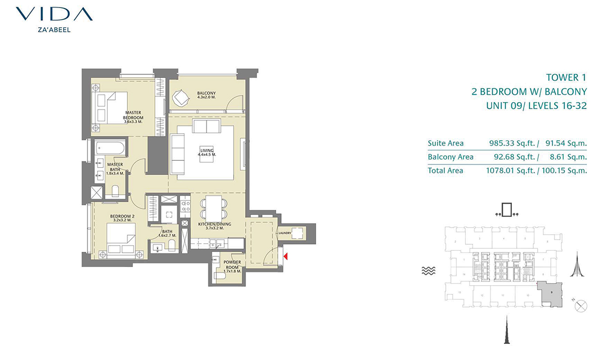 2 Bedroom Balcony Unit 09 Level 16-32 Size 1078.01 sq.ft