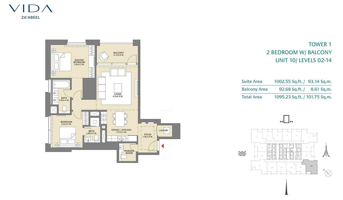 2 Bedroom Balcony Unit 10 Level 2-14 Size 1095.23 sq.ft