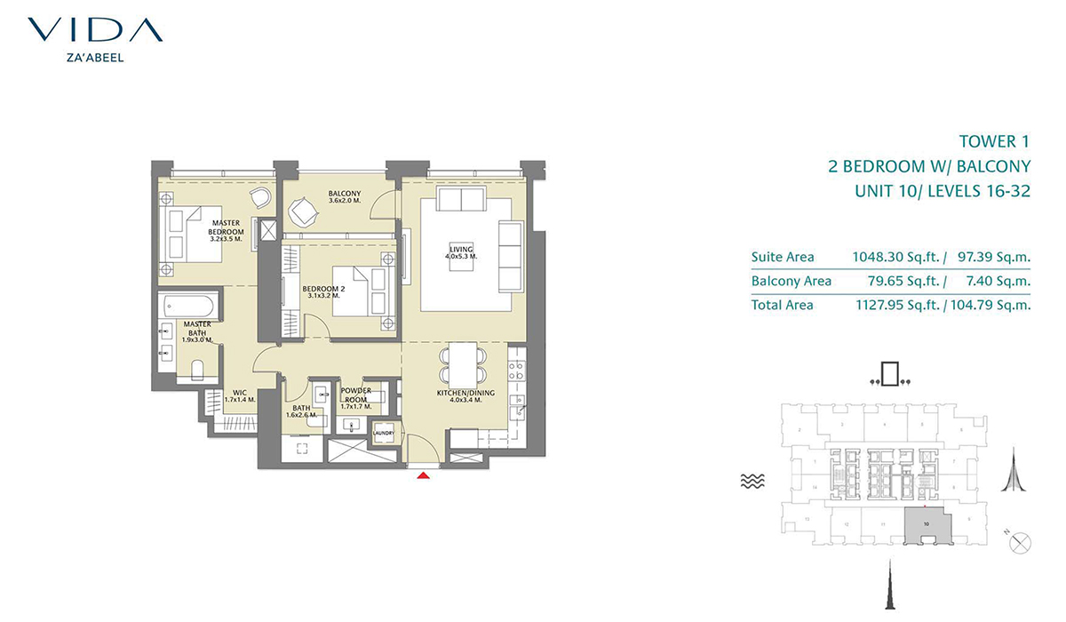 2 Bedroom Balcony Unit 10 Level 16-32 Size 1127.95 sq.ft