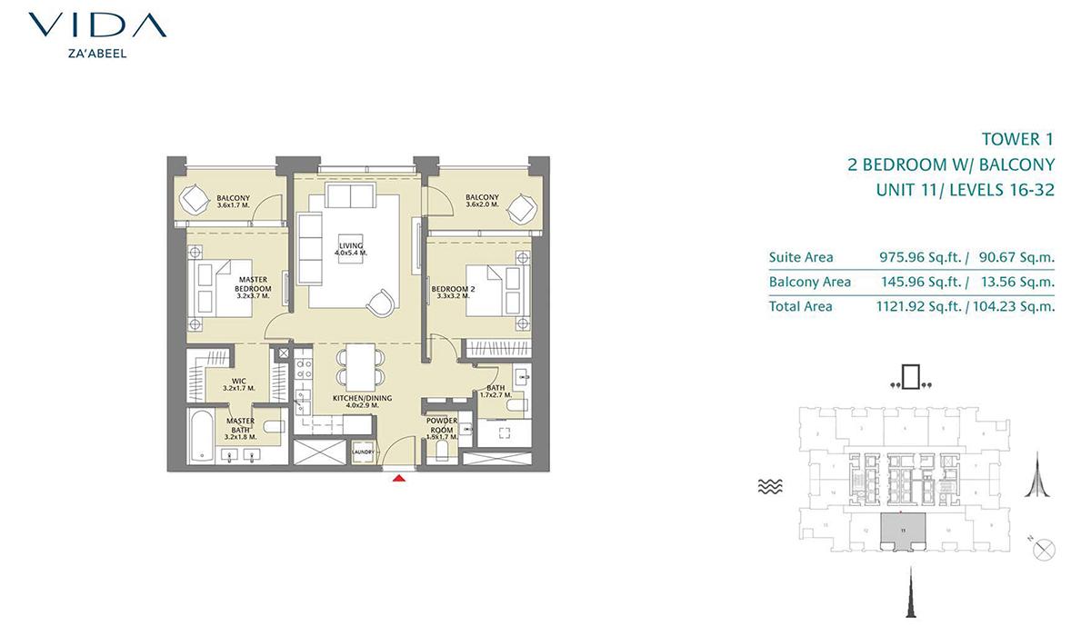 2 Bedroom Balcony Unit 11 Level 16-32 Size 1121.92 sq.ft