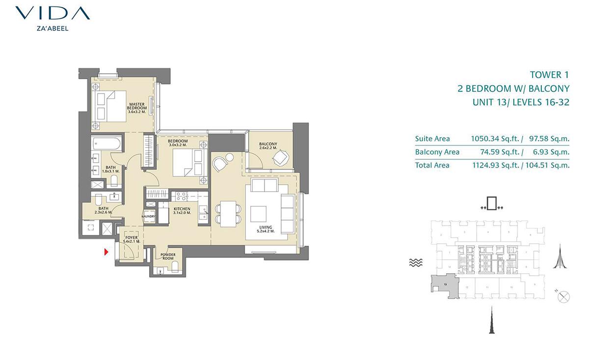 2 Bedroom Balcony Unit 13 Level 16-32 Size 1124.93 sq.ft