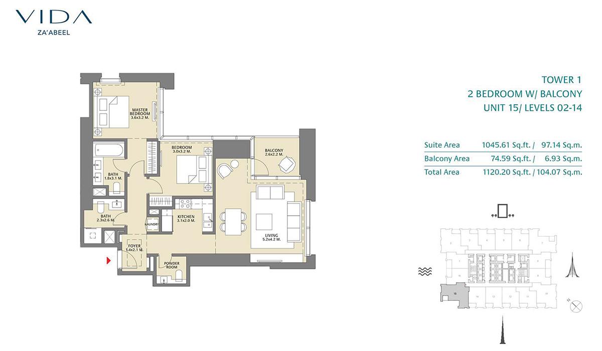 2 Bedroom Balcony Unit 15 Level 2-14 Size 1120.20 sq.ft