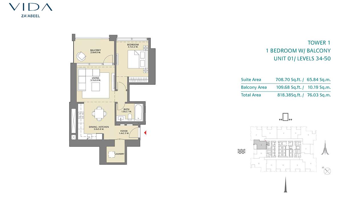 1 Bedroom Balcony Unit 01 Level 34-50 Size 818.38 sq.ft