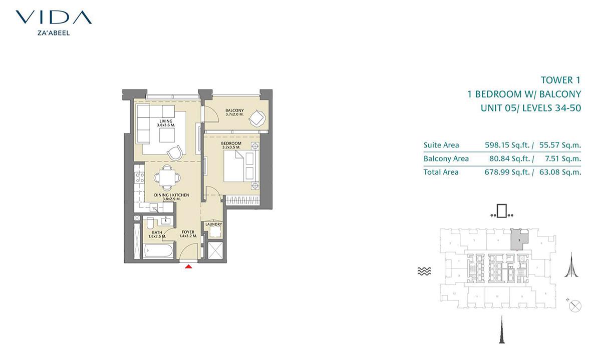 1 Bedroom Balcony Unit 05 Level 34-50 Size 678.99 sq.ft