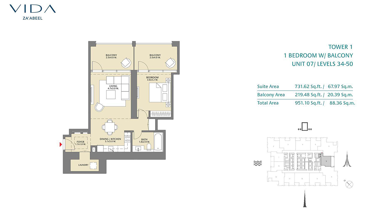 1 Bedroom Balcony Unit 07 Level 34-50 Size 951.10 sq.ft