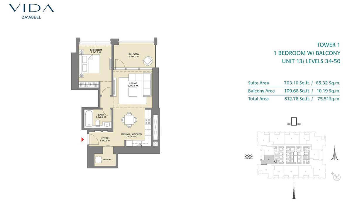 1 Bedroom Balcony Unit 13 Level 34-50 Size 812.78 sq.ft