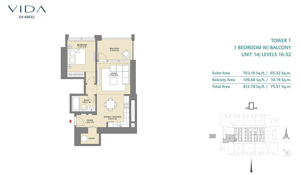 1 Bedroom Balcony Unit 14 Level 16-32 Size 812.78 sq.ft