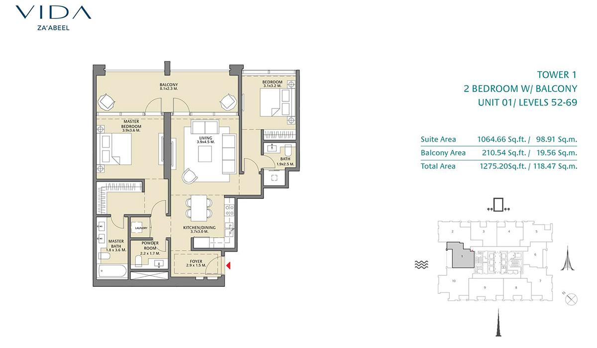 2 Bedroom Balcony Unit 01 Level 52-69 Size 1275.20 sq.ft