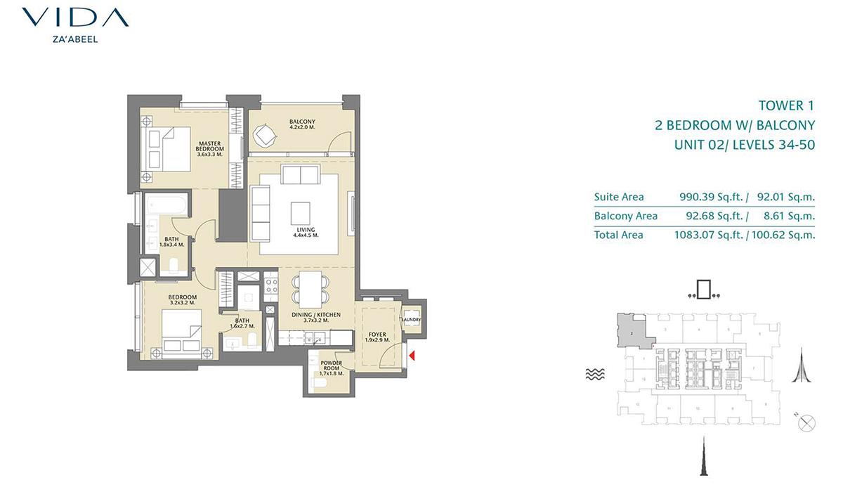 2 Bedroom Balcony Unit 02 Level 34-50 Size 1083.07 sq.ft
