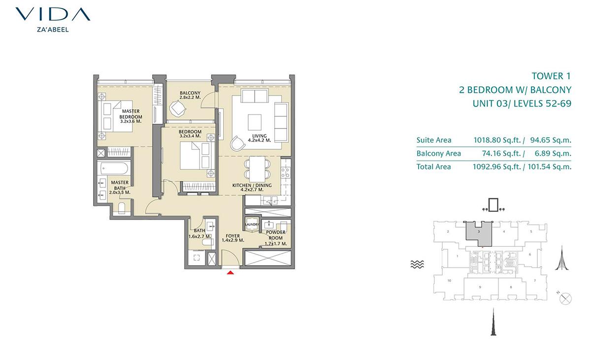 2 Bedroom Balcony Unit 03 Level 52-69 Size 1092.96 sq.ft