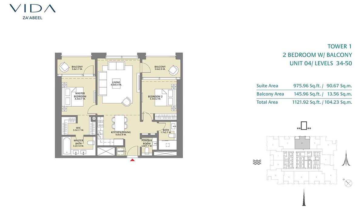 2 Bedroom Balcony Unit 04 Level 34-50 Size 1121.92 sq.ft