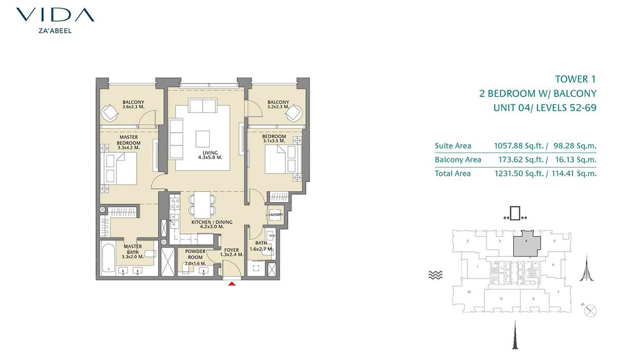 2 Bedroom Balcony Unit 04 Level 52-69 Size 1231.50 sq.ft
