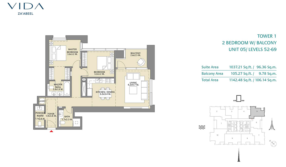 2 Bedroom Balcony Unit 05 Level 52-69 Size 1142.48 sq.ft
