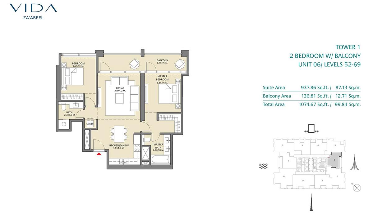 2 Bedroom Balcony Unit 06 Level 52-69 Size 1074.67 sq.ft