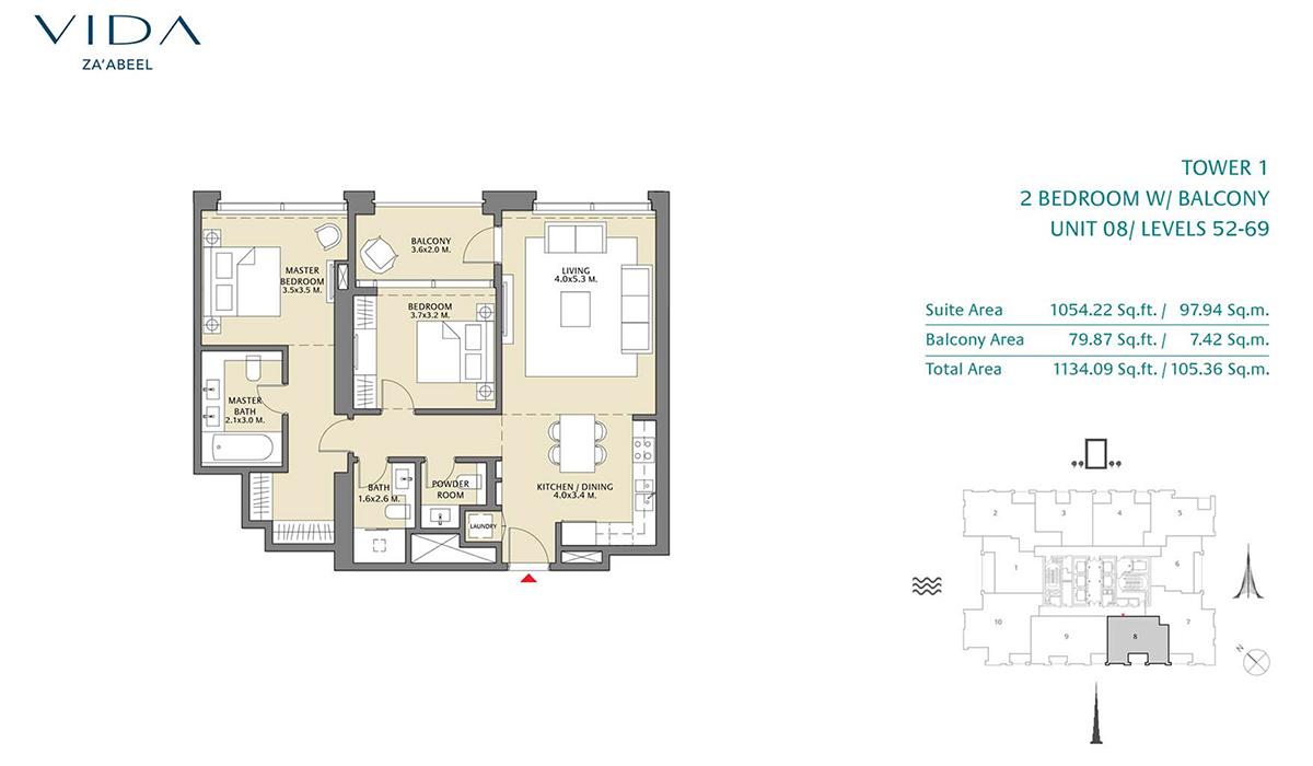 2 Bedroom Balcony Unit 08 Level 52-69 Size 1134.09 sq.ft