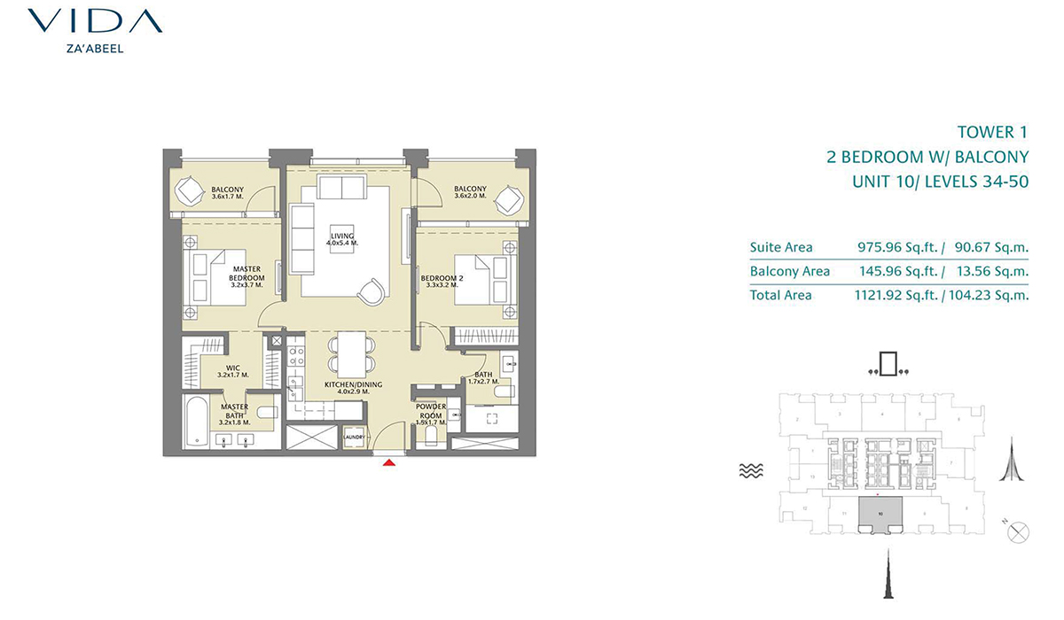 2 Bedroom Balcony Unit 09 Level 34-50 Size 1121.92 sq.ft