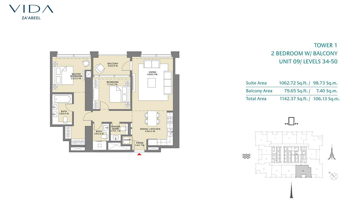 2 Bedroom Balcony Unit 09 Level 34-50 Size 1142.37 sq.ft