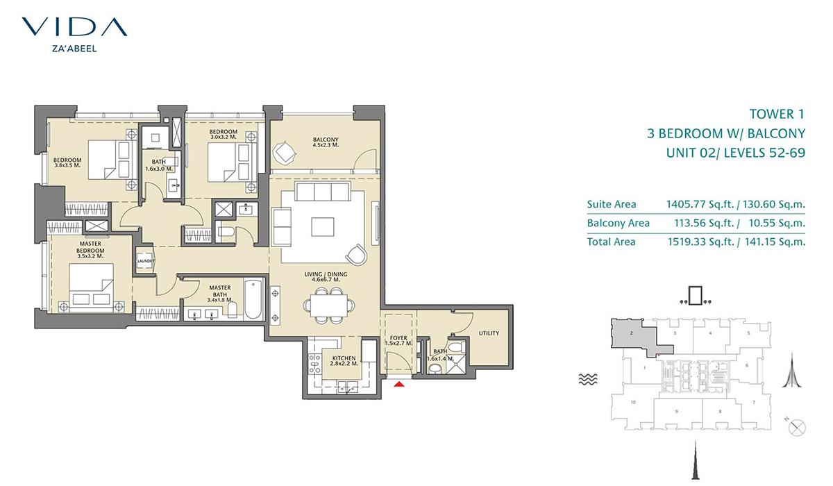 3 Bedroom Balcony Unit 02 Level 52-69 Size 1519.33 sq.ft
