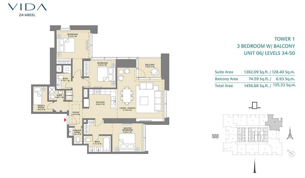 3 Bedroom Balcony Unit 06 Level 34-50 Size 1456.68 sq.ft